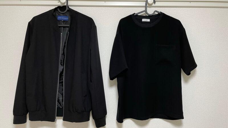 MA1ジャケットと半袖Tシャツ