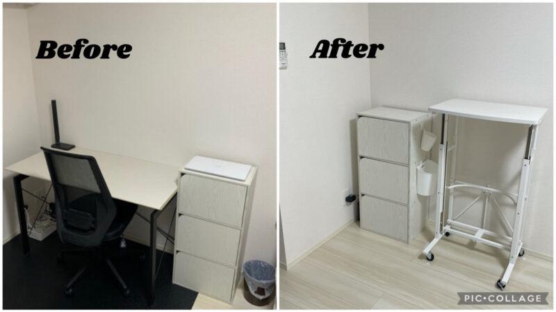スタンディングデスクを置いた作業環境