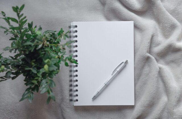 ノートとペンと観葉植物